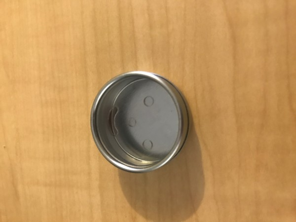 Clear top smiley face screw top tin